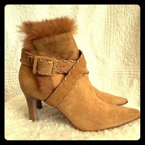 Antonio Melani short suede boots with faux fur